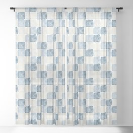 Bohemian Sandcastles- Random: blues & cream, gray Sheer Curtain