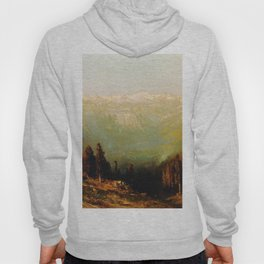 A View Of The Hetch Hetchy Valley With Deer And Mount Conness 1884 By Thomas Hill | Reproduction Hoody