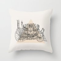 steam punk Throw Pillows featuring Steam punk carriage by grop