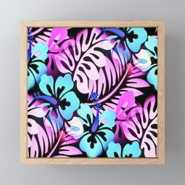 Hawaiian Flowered Shirt Print Pink Blue Framed Mini Art Print