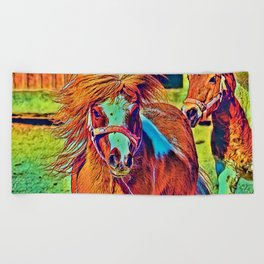 AnimalColor_Horse_001_by_JAMColors Beach Towel