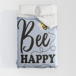 Bee Happy, Cute Fun Positive Quote Comforters