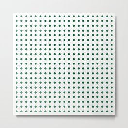 Green on white polka dots Metal Print