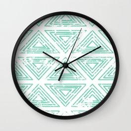 Mint Triangles Wall Clock