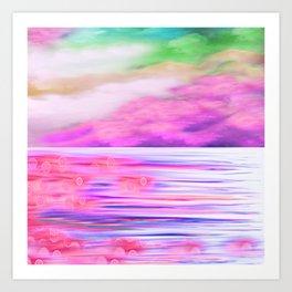ABSTRACT OCEAN PINK HORIZON Art Print