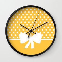 Dots dip-dye pattern with cute bow in yellow Wall Clock