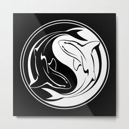 Yin Yang Shark Metal Print