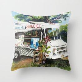 Hawaiian Shave Ice Truck Throw Pillow