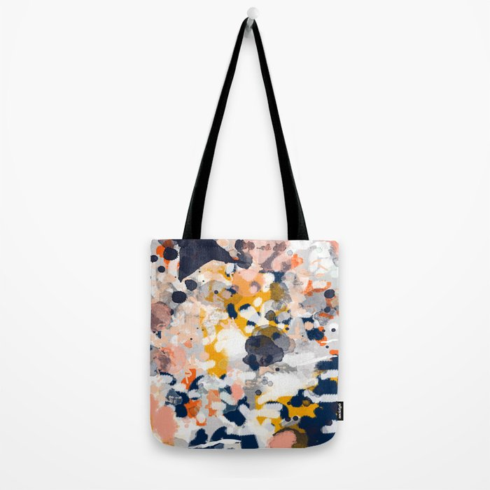 Stella - Abstract painting in modern fresh colors navy, orange, pink, cream, white, and gold Tote Bag