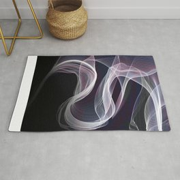 Moody & Beautiful Smoky lacy flux - black, blue, pink #abstractart Rug