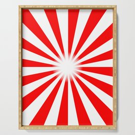 Red And White Bright Ray Background Serving Tray