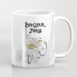 Vintage Bicycle Bonjour Paris Coffee Mug