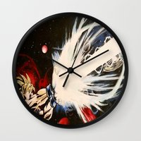 dbz Wall Clocks featuring DBZ Galaxy by DrewzDesignz