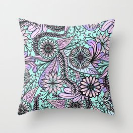 Girly Artsy Pastel Pink Cyan Floral Illustrations Throw Pillow