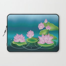 Lotus Flower with Leaves Laptop Sleeve
