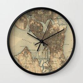 Vintage Map of Seattle Washington (1908) 2 Wall Clock
