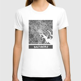 Baltimore map yellow T-shirt