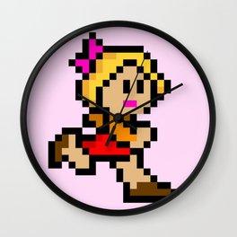 Pixel Girl Running 1 Wall Clock