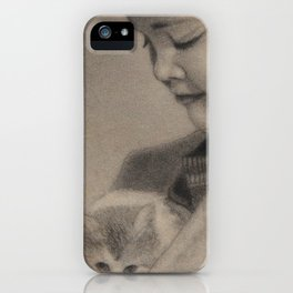 Girl Playing with Cat - in Charcoal iPhone Case