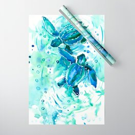 Turquoise Blue Sea Turtles in Ocean Wrapping Paper