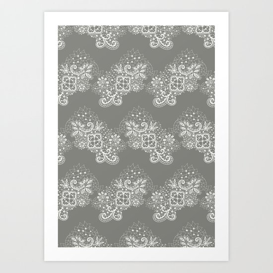 White on Grey Lace Art Print