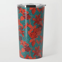 Linocut look in blue with roses Travel Mug