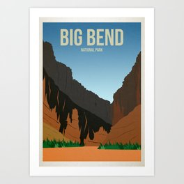 Big Bend National Park - Travel Poster -  Minimalist Art Print Art Print