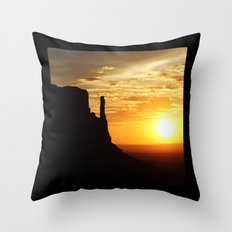 Sunrise over Monument Valley West Mitten Butte Throw Pillow