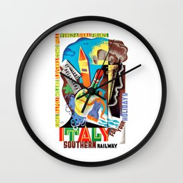 1934 Italy For Your Holidays Travel Poster Wall Clock