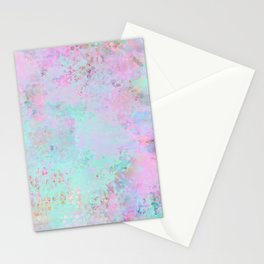 Subtle Pastel Painting In Pink And Turquoise Stationery Cards