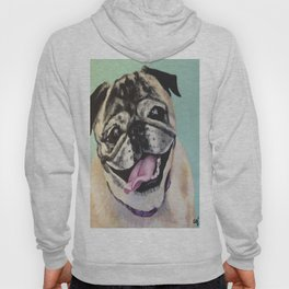 Portrait of Pug on Teal Hoody