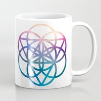 sacred geometry Mugs featuring Sacred Geometry Universe by Nick Kask Design Co