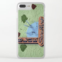 Blue Swallow Court Sign Clear iPhone Case