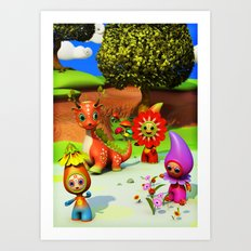 The Flowerdroplets and the Leafdragon Art Print