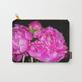 Peony Bouquet in a Crystal Vase Carry-All Pouch