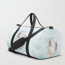 Cute little maltese with flowers Duffle Bag