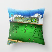 brasil Throw Pillows featuring Brasil by Henrique Abreu