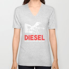 Diesel Because Electric Can't Roll Coal Funny Truck Trucker Mechanics Gift Unisex V-Neck