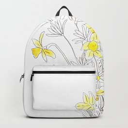 white daisy and yellow daffodils ink and watercolor Backpack