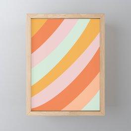 Summer Sorbet Pastel Curved Stripes Framed Mini Art Print