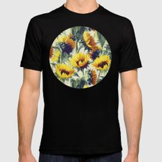 Sunflowers Forever Black Mens Fitted Tee MEDIUM