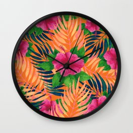 Hibiscus Tropical pattern Wall Clock