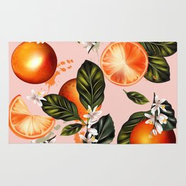Citrus paradise. Tropical pattern with oranges Rug