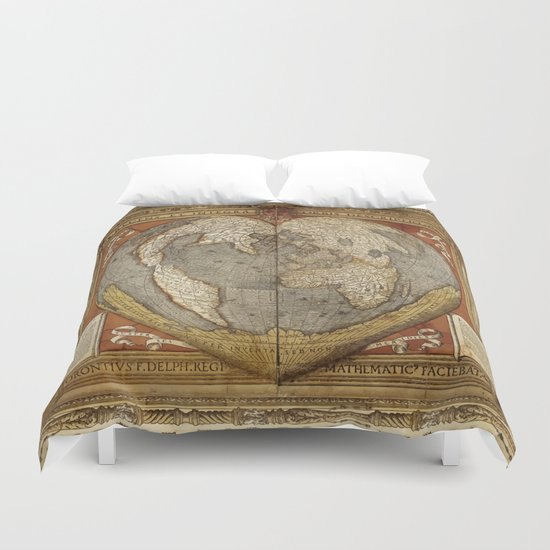Heart-shaped projection map by Oronce Fine, 16th century Duvet Cover