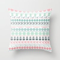 sewing Throw Pillows featuring Sewing by Heleen van Buul