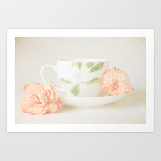 Teacup and Orange Flowers  Art Print