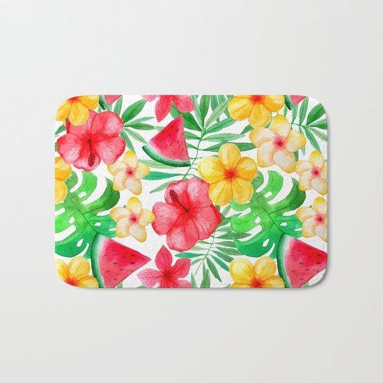 Happy Summer Life- Aloha Flowers and Melon - Pattern on #Society6 Bath Mat