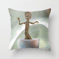 groot Throw Pillows featuring Baby Groot by Cassandra Moonen