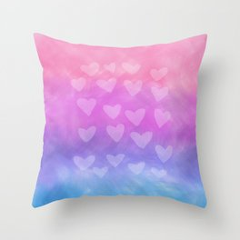 colorful hearts Throw Pillow