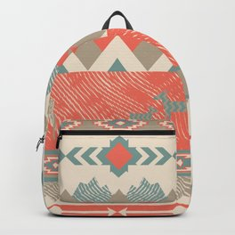 Southwest Village in Teal & Soft Red Backpack